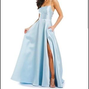Lace up back satin ballgown